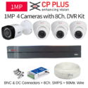 Cp Plus 1mp 4 Cctv Camera With 8ch. Dvr Kit With All Accesso, Usage: Indoor Use, Outdoor Use