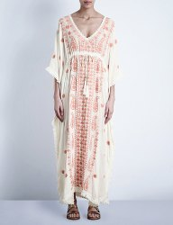 Long embroidered mexican kaftan