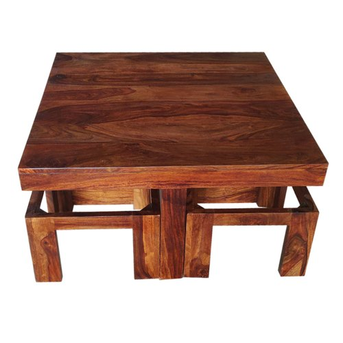 Soni Art Exports Brown Color Irani Sheesham Wooden Coffee Table With Seating Stools With Cushion At Rs 12000 Piece Wooden Coffee Table Id 21469299648