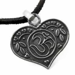 Heart Shape 925 Sterling Silver Om Pendant