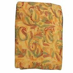 Yellow Georgette Chikan Unstitched Suit, Handwash