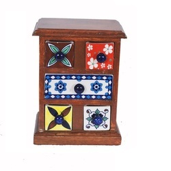 Five Hand Painted Ceramic Draws with Wooden Chest