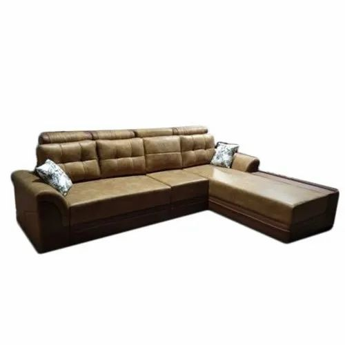 Brown Leather 4 Seater Sofa Set