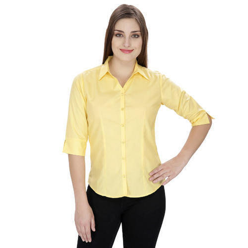 Ladies Yellow Half Sleeves Shirts, Women Fashion Shirts - Anjani ...