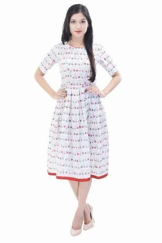 Trade Star Exports Chiffon Hand Block Print Designer One Piece Tunic Dress, Size: Small / Medium / Large / XL / 2XL