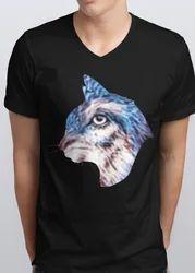 Black Cotton Men Back Cat Printed V-Neck T-Shirt