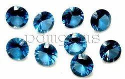 London Blue Topaz Round Diamond Cut Gemstone