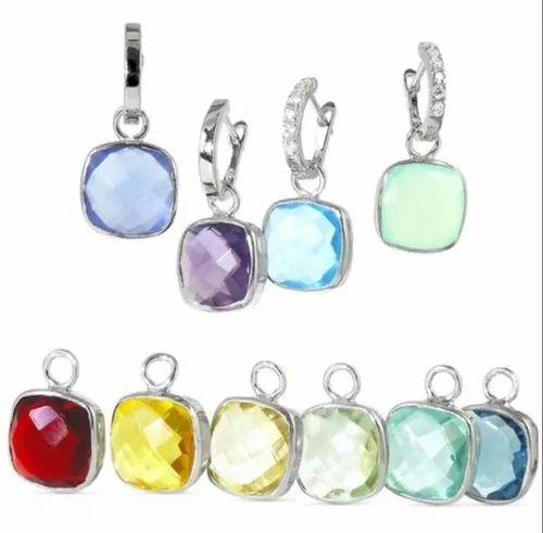 Round Emerald CZ Stone Studded 14K White Gold Plated Danglar Earrings For Women Girls Jewelry