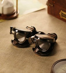 Vintage Brass Binocular Sea Shell Opera Glass Folding Long Handle Antique Decor