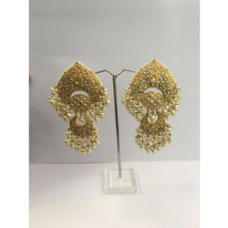 Natural Uncut Diamond  Polki Jadau Chandbali Earrings