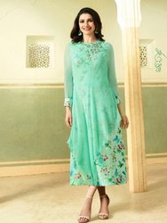 XL Casual Wear Ladies Green Georgette Kurti, Stitch Type: Stitched