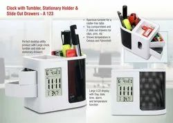 White Clock With Tumbler, Stationery Holder & Slide Out Drawers for Promotional Gifts