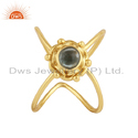 Apatite Gemstone Handmade Yellow Gold Plated Silver Ring Jewelry