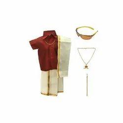 Maroon Plain Boys Half Sleeves Shirt and Dhoti Set, Age: 6 Month - 11 Year