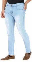 Slim Fit Faded Mens Damage Denim Jeans, Waist Size: 32