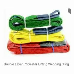 Double layer polyester lifting webbing sling