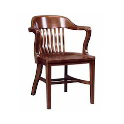Brown Polished Wooden Arm Chair