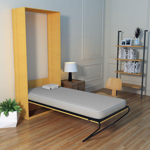 Maple Friss Vertical Single Wall Bed With Mattress