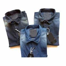 Party Wear Men's Bleach Wash Denim Shirt