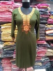 ME FASHION RAYON EMBROIDERED KURTI