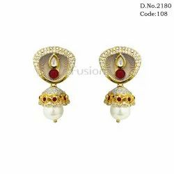 Designer Meenakari Kundan Jhumka Earrings