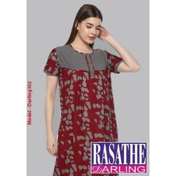 Full Length Half Sleeves Ladies Cotton Printed Nightgown