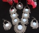 Afghani Turkish Style Oxidised German Silver Chandbali Pendant Necklace Set For Women