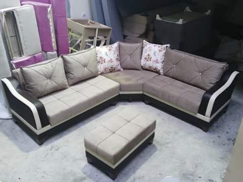 Brown Wooden Leather Corner Sofa With Center Table, Rs 25000 /piece ...