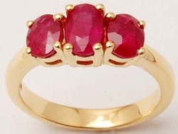 Three Stone Oval Red Ruby Gold Rings