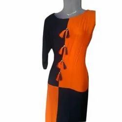 Cotton Casual Wear 3/4 Sleeves Ladies Casual Kurti, Machine and Hand Wash, Size: S-XXL