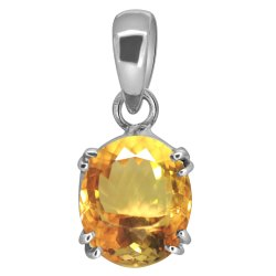Citrine Pendant Men and Women Silver Gemstone