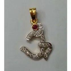 Diamond Studded 18k Gold Om Pendent