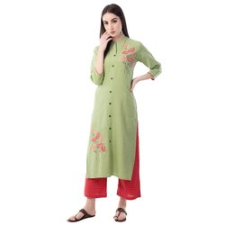 Women's Cotton Straight Embroidered Kurta With Pant Set