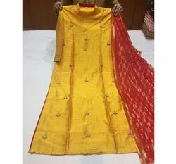 Red And Green Party Wear Ladies Hand Embroidery Raw Silk Suit