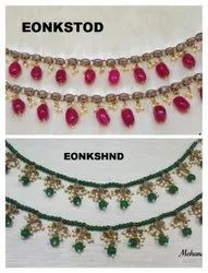 Brass Unique EON Polki Crystal Beaded Colorful Fashion Anklets Payal