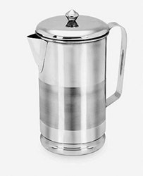 Stainless Steel Round Jointless Pipe Water Jug Silver Touch with Lid, Packaging Type: Box