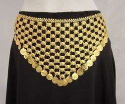 Dance Show Hippie Gold Plated Navratri Garba Chain Coin Belt