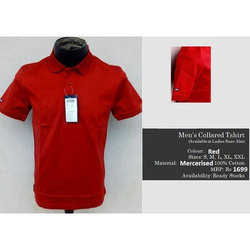 Red Cotton Mens Polo Neck T-Shirt