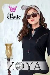 Zoya Heavy Cotton Broken Twill Fancy Long Kurtis