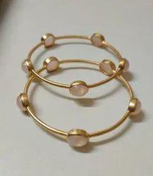 Rose Gemstone 925 Sterling Silver Bangle Bracelet, Weight: 12 Gm
