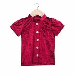 Maroon Half Sleeves Kids Girls Velvet T Shirt