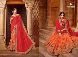 Indian Women Red And Orange Color Lycra And Net Saree