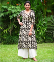 Black Printed Charcoal Block Printed Cotton Flared Kurta