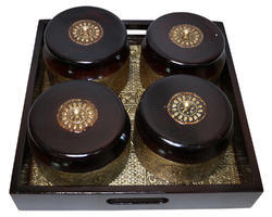 Master Crafts Multicolor Wooden with Brass Work 2 Dry Fruit Holder with Tray