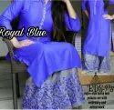 Ladies Royal Blue Cotton Kurti With Palazzo