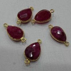 Natural Red Ruby Color Gemstone Bezel Connector Gold Plated