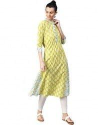 Women Green Ethnic Motifs A-Line Cotton Kurta