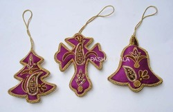 Zari Embroidery Christmas Ornaments Decorative