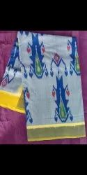 Cream Formal Wear Ikkat Special Mascrised Cotton Sarees, 6.5 With Blouse