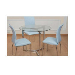 White Dining Table, Size: Glass 12mm, Dia:-900mm